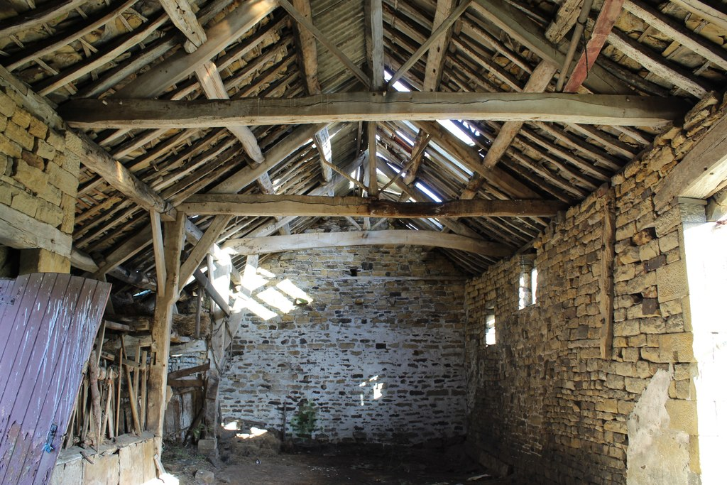 Image showing the insude of a cruck framed barn